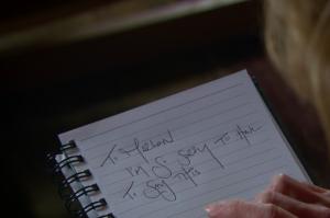 Rhona writing to Marlon in Emmerdale