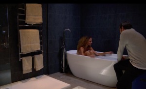 Chantelle and Gray in the bath EastEnders